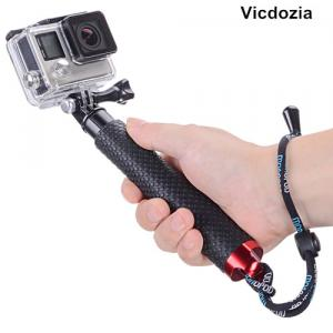 Vicdozia 19'' Waterproof Handheld Hand Grip Extending Telescopic Monopod Compact Selfie Stick GoPro Accessory Pole for GoPro Hero 6/5, Session, Hero 4 3 3+ 2 1 SJCAM SJ4000 Xiaomi Yi(Red)